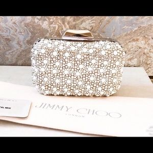 Jimmy Choo Cloud White Suede Crystal Mix Clutch